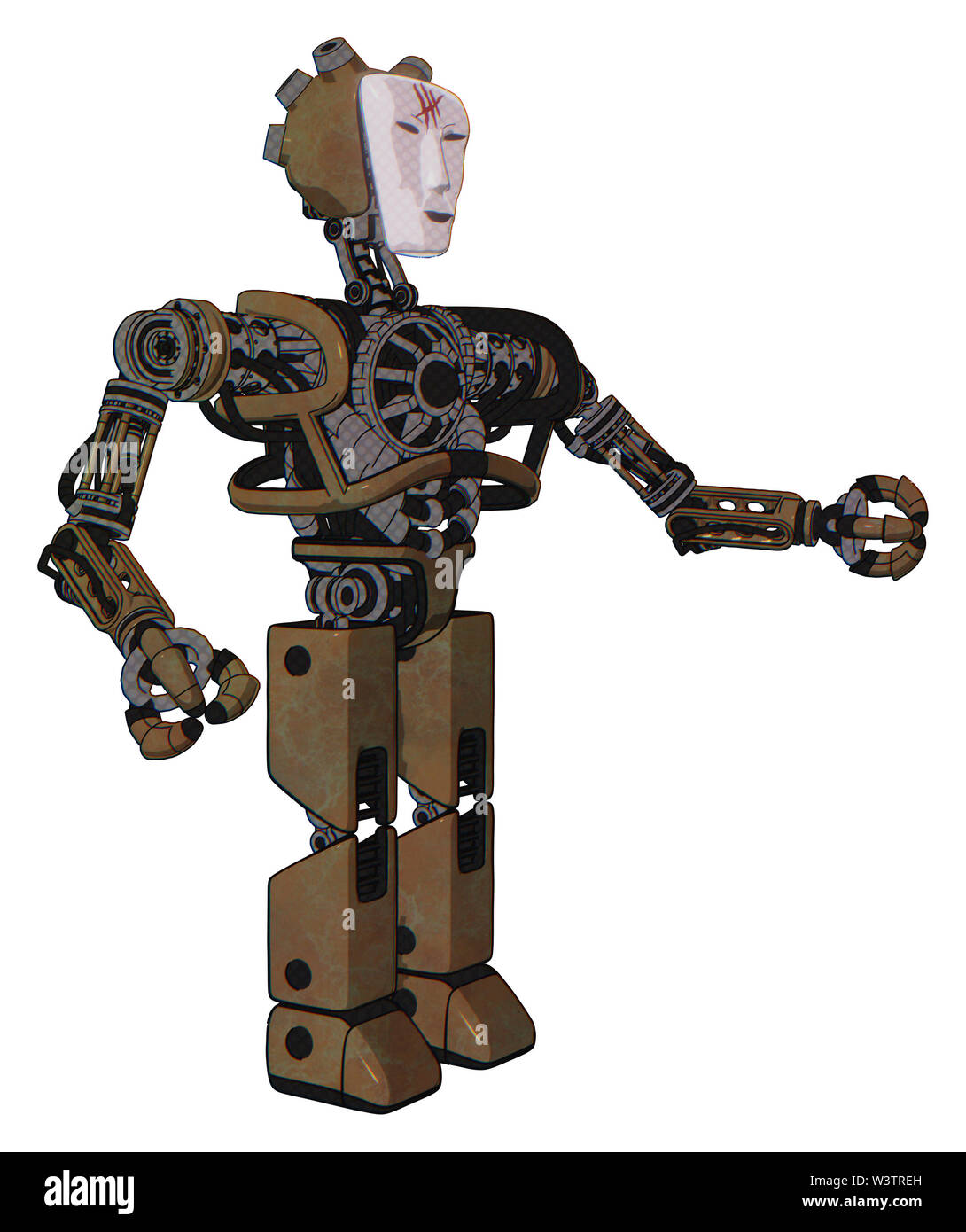 Bot containing elements: humanoid face mask, red slashes war paint, heavy upper chest, no chest plating, prototype exoplate legs. Material: old... Stock Photo
