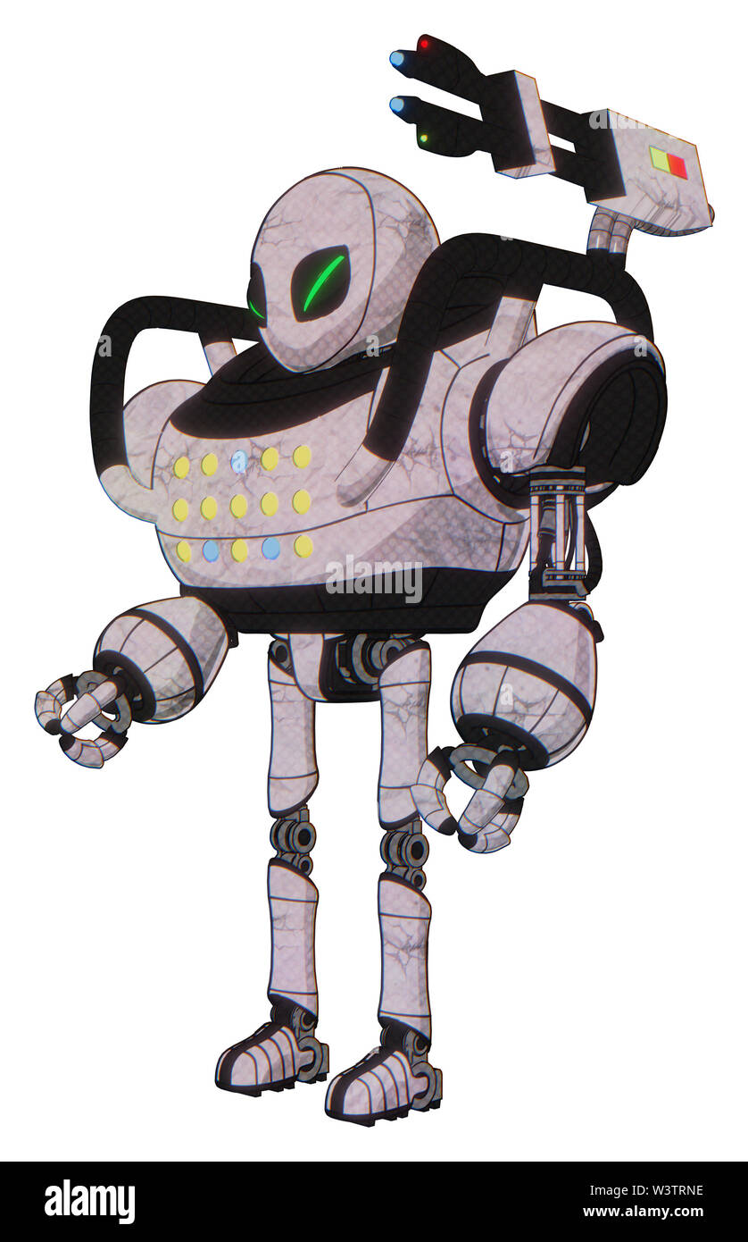 Droid containing elements: grey alien style head, green demon eyes, heavy upper chest, colored lights array, ultralight foot exosuit. Material:... Stock Photo