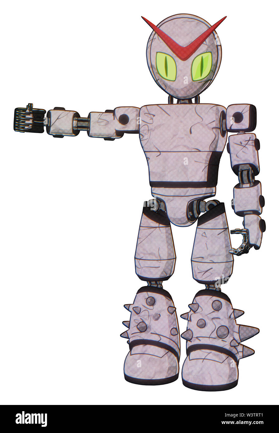 Automaton containing elements: grey alien style head, cat's eyes, light chest exoshielding, prototype exoplate chest, light leg exoshielding, spike... Stock Photo