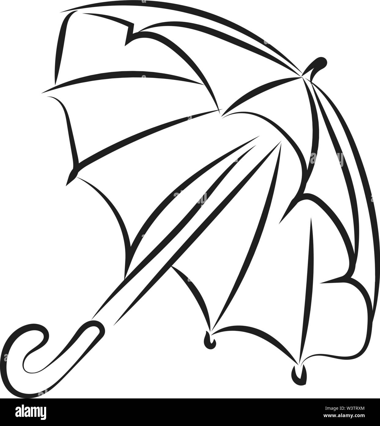 Drawing of umbrella, illustration, vector on white background. - Stock Image