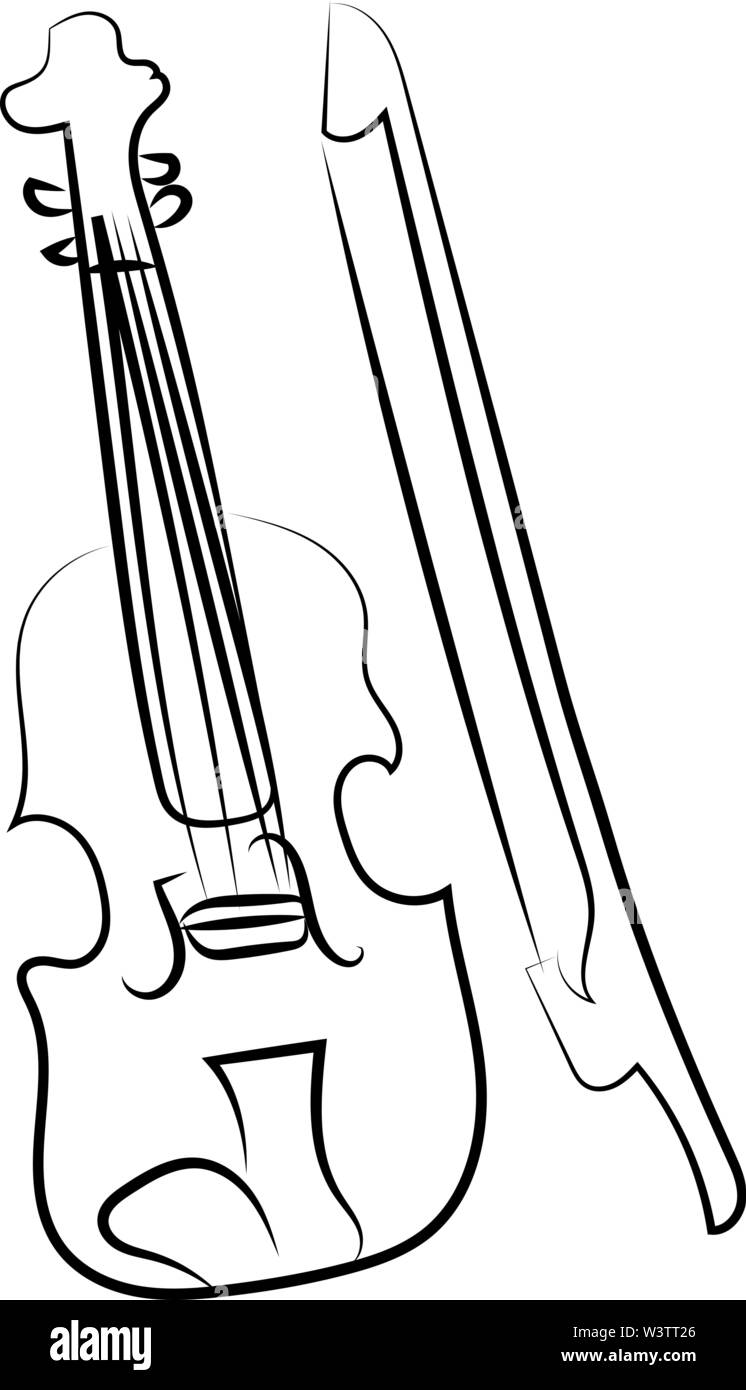 Drawing of violin, illustration, vector on white background. - Stock Image