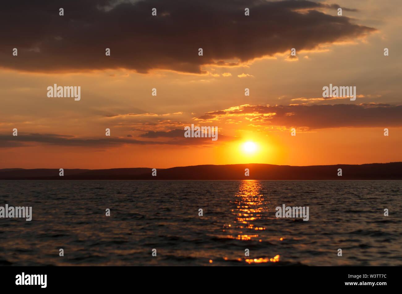 Beautiful sunset over the Balaton Lake in Hungary, Europe on a summer day. - Stock Image