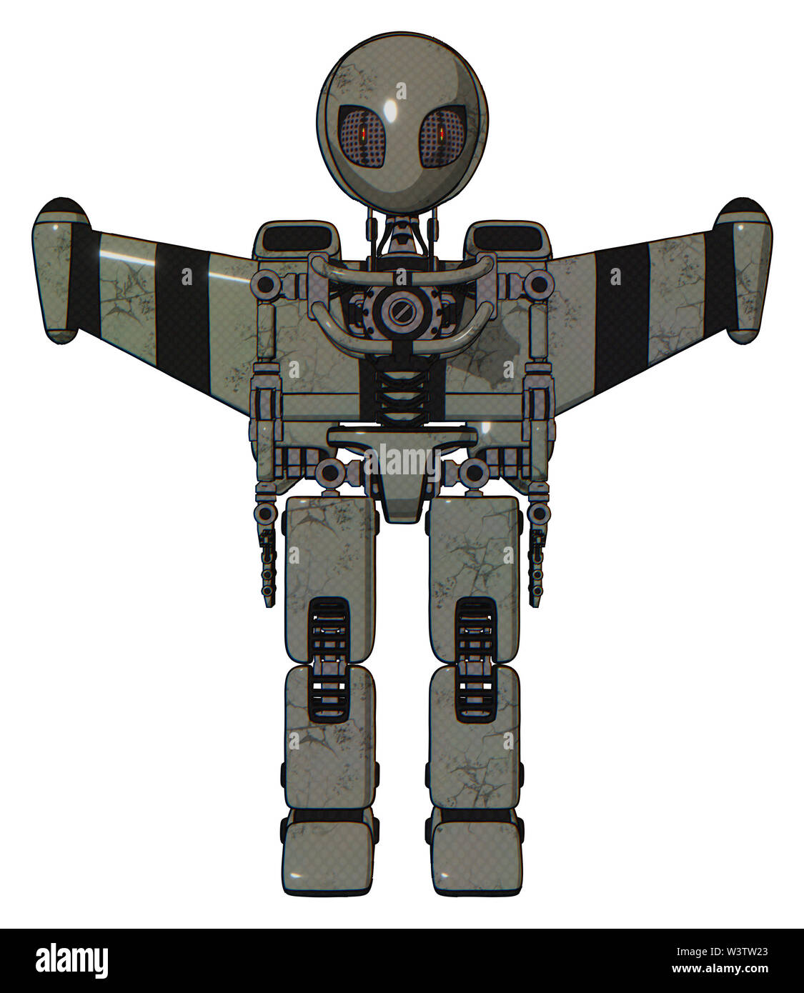 Cyborg containing elements: grey alien style head, metal grate eyes, light chest exoshielding, stellar jet wing rocket pack, no chest plating, prototy - Stock Image