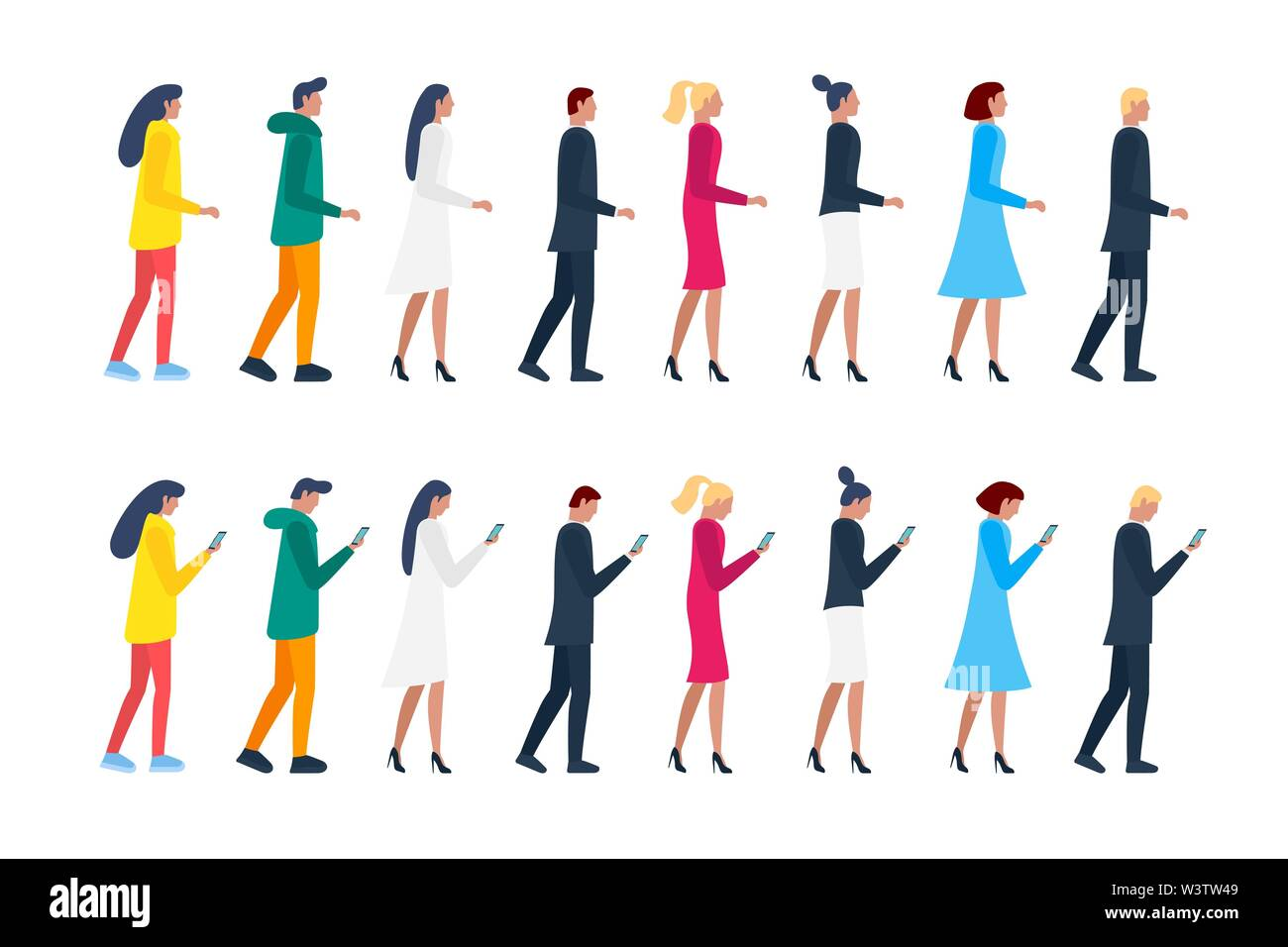 Crowd men and women walking and holding smartphones. Male and female characters group using mobile phones. Vector flat person illustration - Stock Image