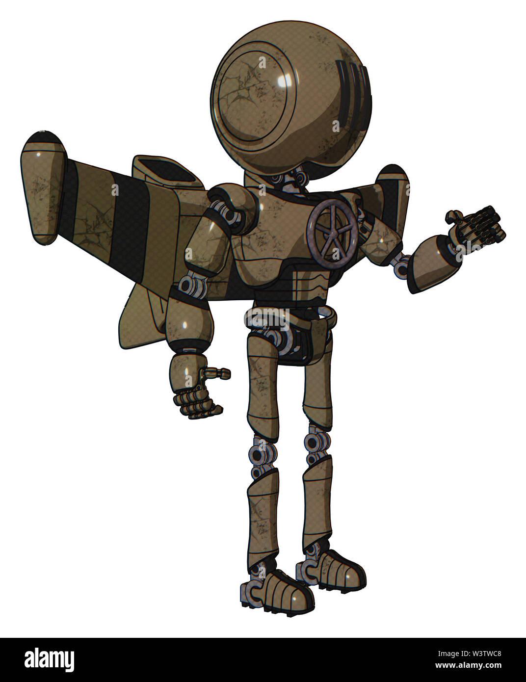 Bot containing elements: round head, three lens sentinel visor, light chest exoshielding, chest valve crank, stellar jet wing rocket pack, ultralight - Stock Image