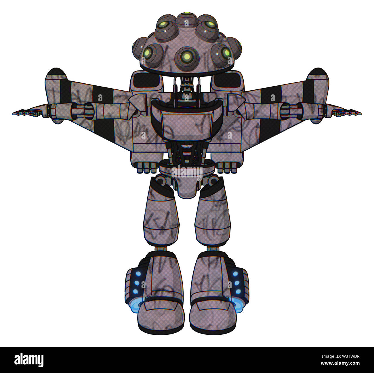 Automaton containing elements: many robo-eye domehead design, light chest exoshielding, ultralight chest exosuit, stellar jet wing rocket pack, light - Stock Image
