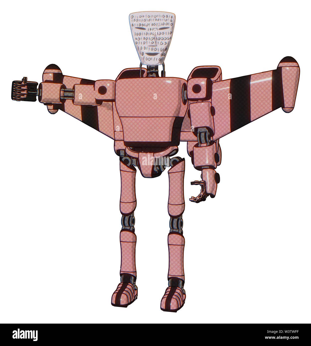 Cyborg containing elements: humanoid face mask, binary war paint, light chest exoshielding, prototype exoplate chest, stellar jet wing rocket pack, ul - Stock Image