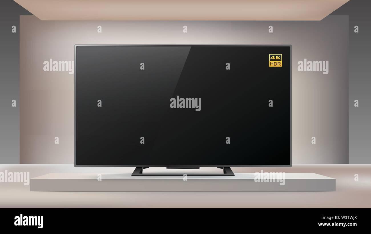 Next generation smart LED 4K TV in en lighted studio background, vector illustration - Stock Image