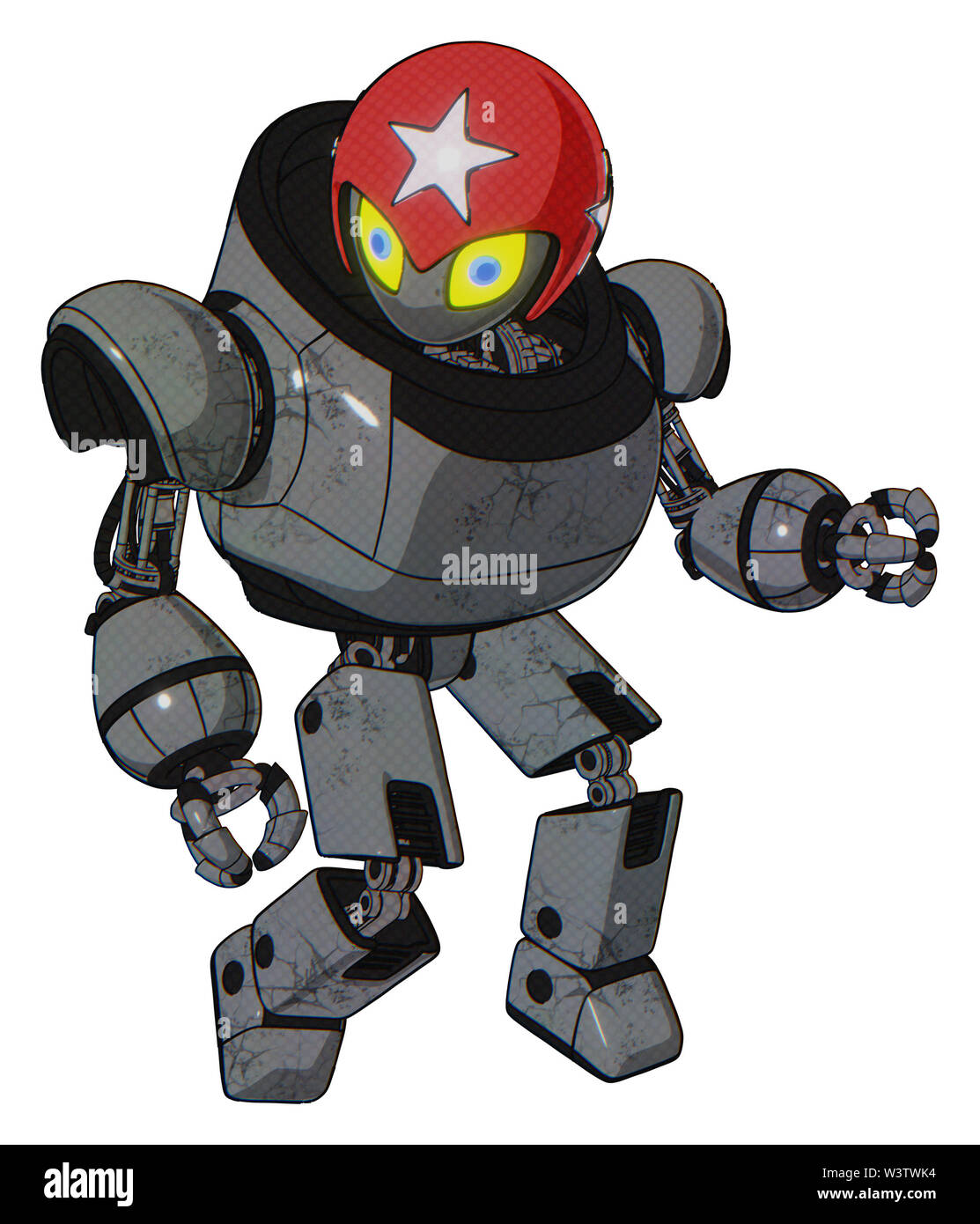 Bot containing elements: grey alien style head, yellow eyes with blue pupils, stars, red helmet, heavy upper chest, prototype exoplate legs. Stock Photo