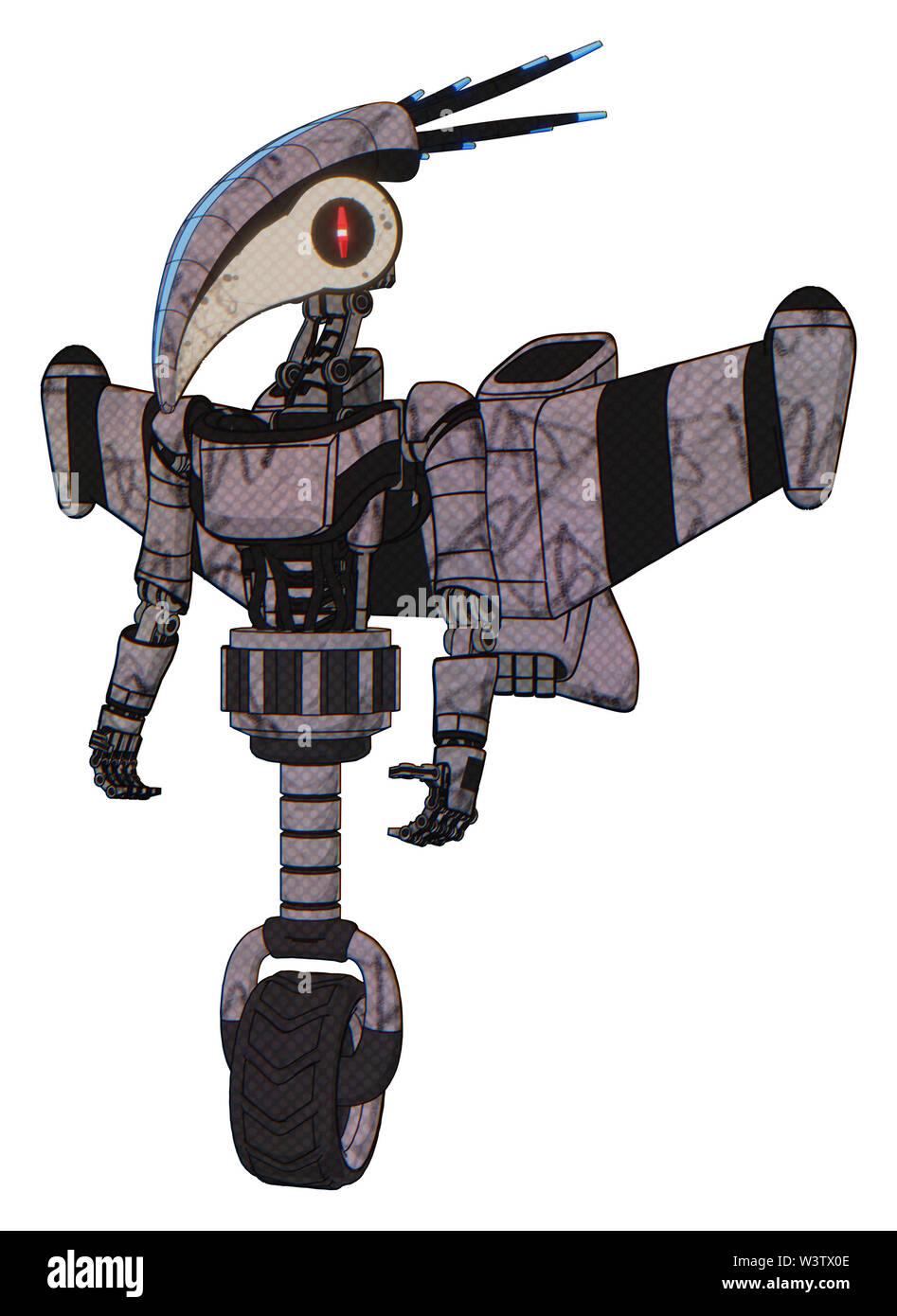 Cyborg containing elements: bird skull head, red line eyes, head shield design, light chest exoshielding, ultralight chest exosuit, stellar jet wing r - Stock Image