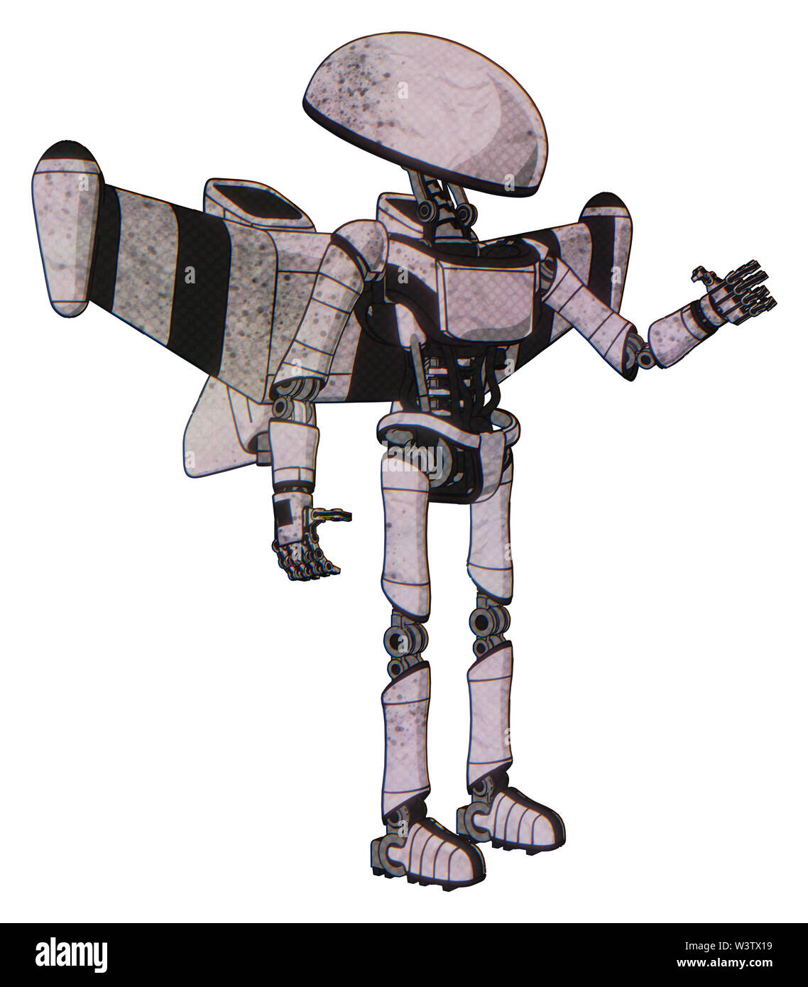 Bot containing elements: dome head, light chest exoshielding, ultralight chest exosuit, stellar jet wing rocket pack, ultralight foot exosuit. Materia - Stock Image