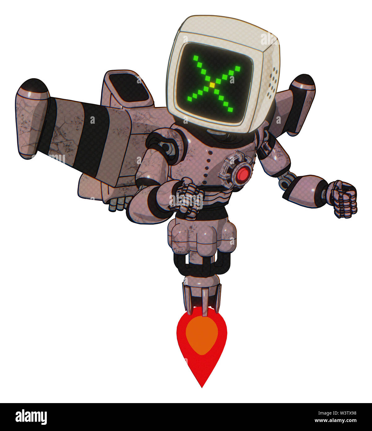 Mech containing elements: old computer monitor, pixel x, light chest exoshielding, red energy core, stellar jet wing rocket pack, jet propulsion. Mate - Stock Image