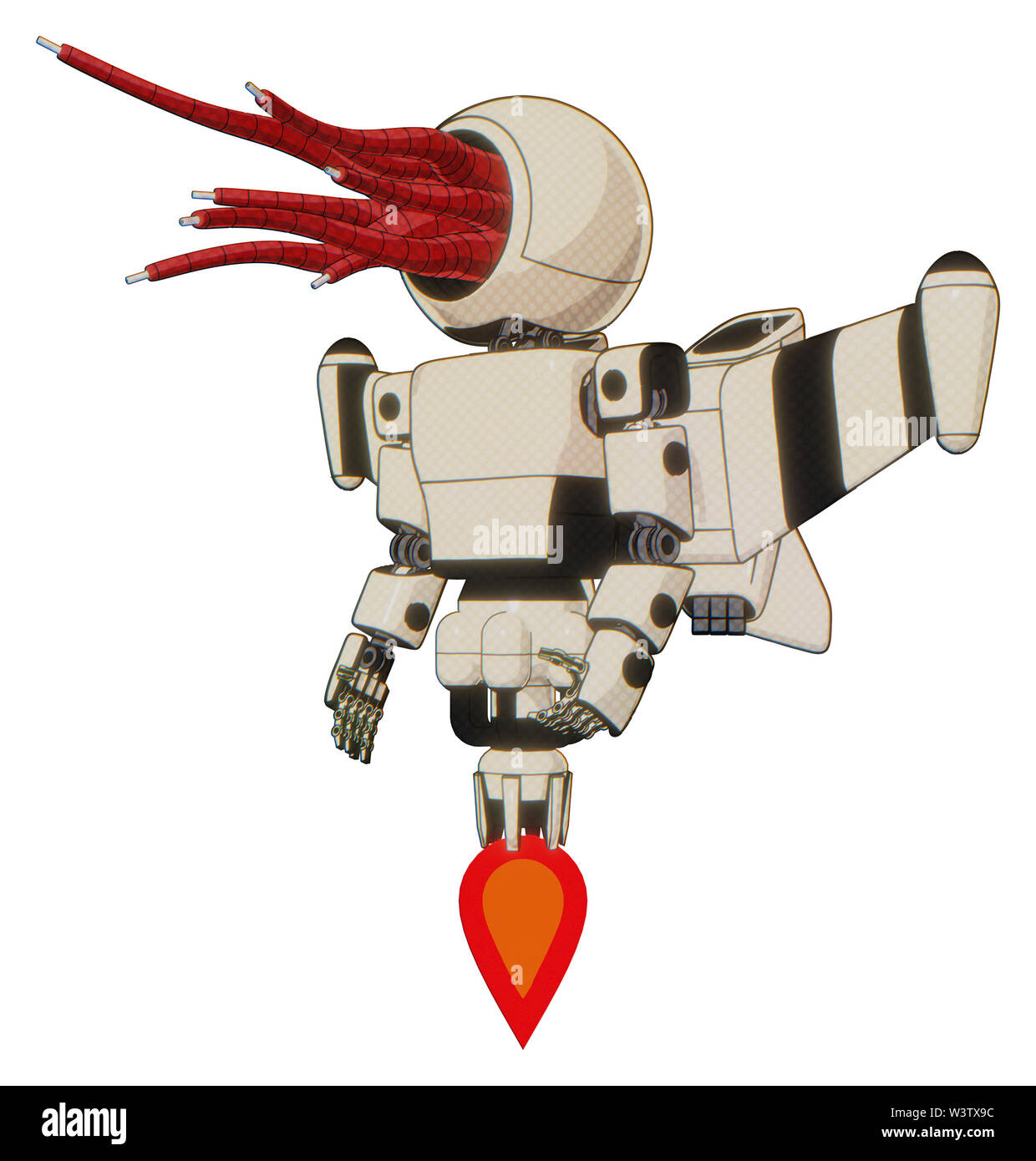 Automaton containing elements: bright red jellyfish tentacles fiber optic design, light chest exoshielding, prototype exoplate chest, stellar jet wing - Stock Image