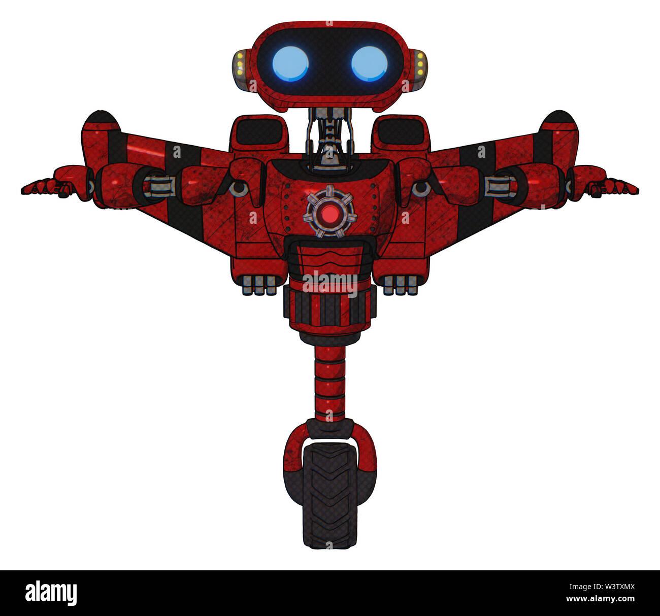 Bot containing elements: dual retro camera head, cute retro robo head, yellow head leds, light chest exoshielding, red energy core, stellar jet wing r - Stock Image