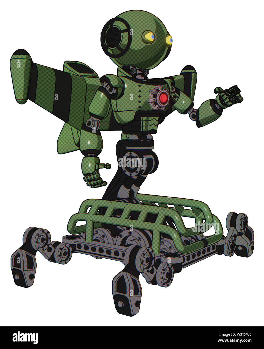 Robot containing elements: oval wide head, yellow eyes, light chest exoshielding, red energy core, stellar jet wing rocket pack, insect walker legs. M - Stock Image