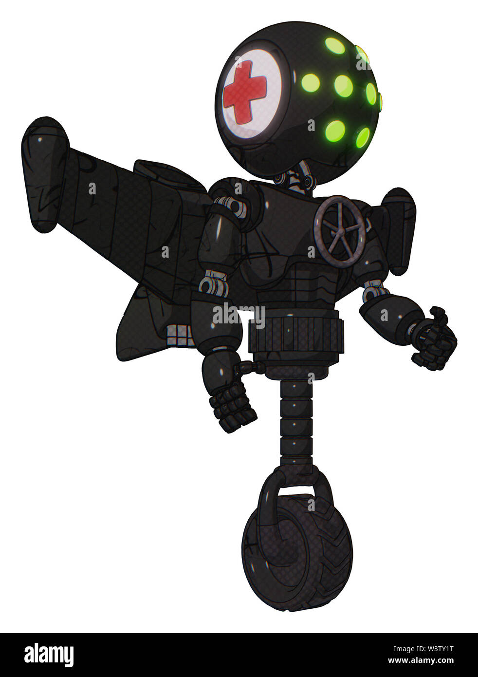 Android containing elements: round head, green eyes array, first aid emblem, light chest exoshielding, chest valve crank, stellar jet wing rocket pack - Stock Image