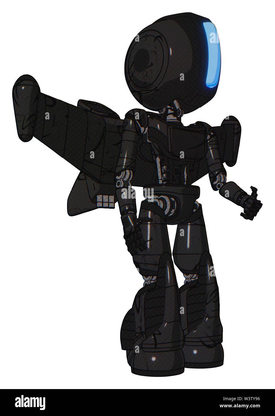Cyborg containing elements: round head, large vertical visor, light chest exoshielding, ultralight chest exosuit, stellar jet wing rocket pack, light - Stock Image