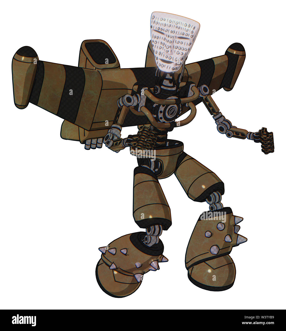 Droid containing elements: humanoid face mask, binary war paint, light chest exoshielding, stellar jet wing rocket pack, no chest plating, light leg e - Stock Image