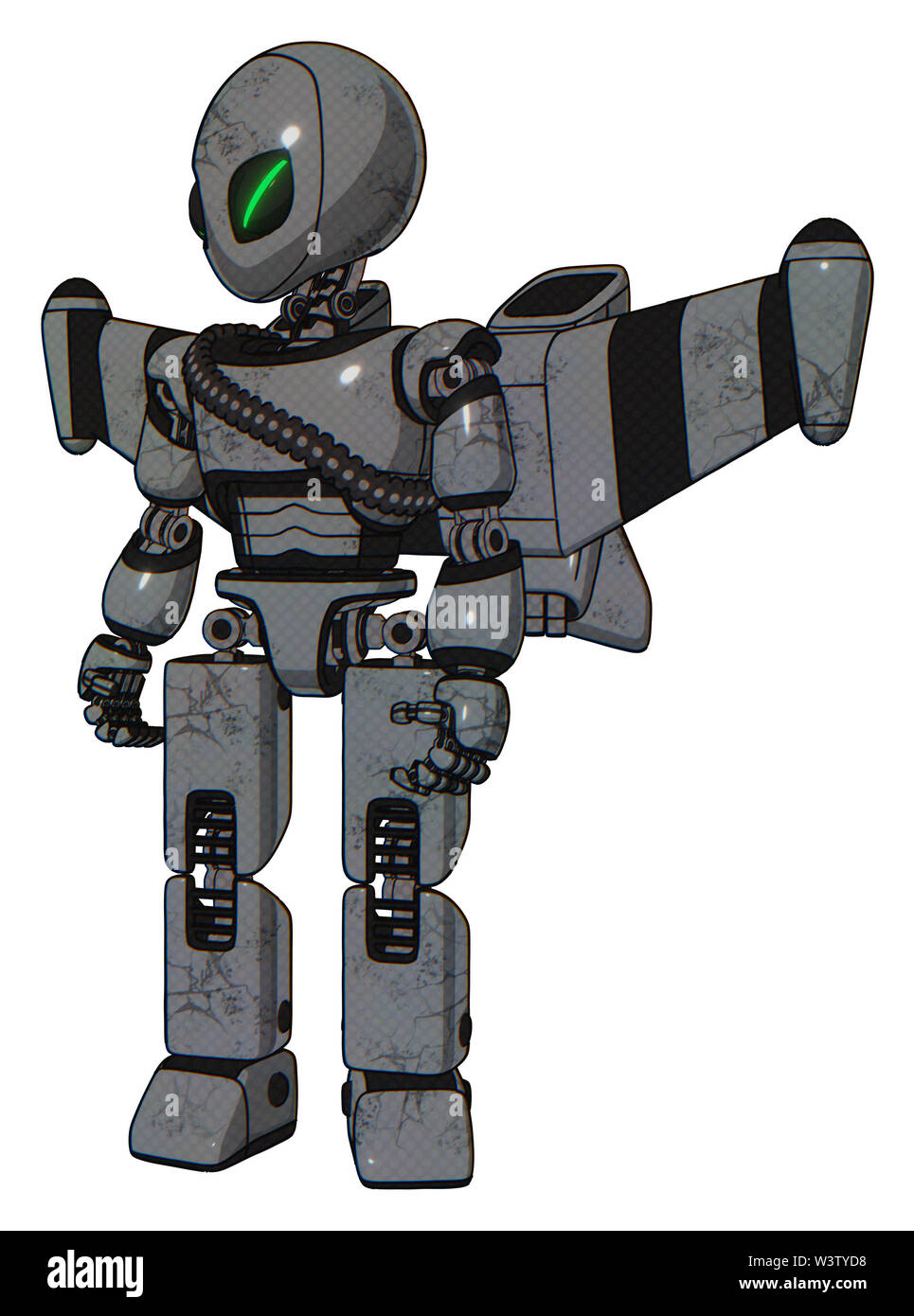 Droid containing elements: grey alien style head, green demon eyes, light chest exoshielding, rubber chain sash, stellar jet wing rocket pack, prototy - Stock Image