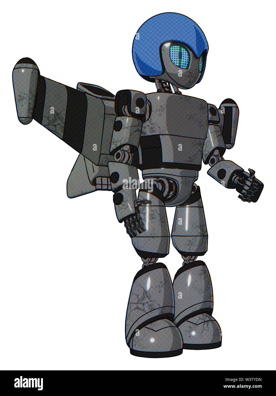 Automaton containing elements: grey alien style head, blue grate eyes, blue helmet, light chest exoshielding, prototype exoplate chest, stellar jet wi - Stock Image