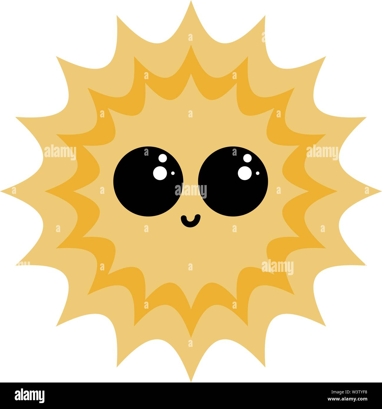 Cute happy sun, illustration, vector on white background. - Stock Image