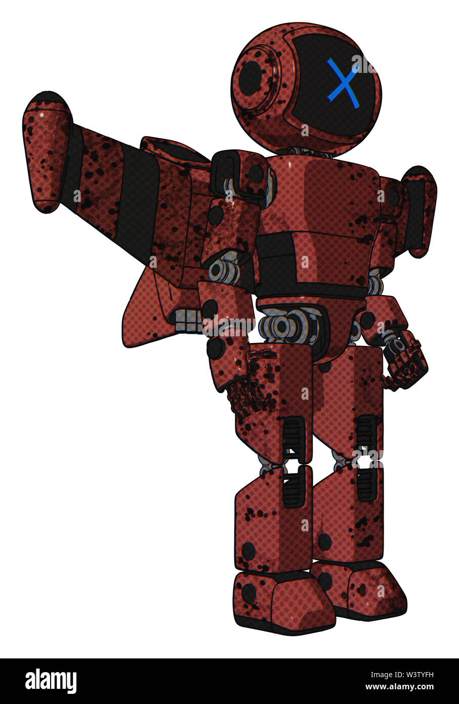 Bot containing elements: digital display head, x face, light chest exoshielding, prototype exoplate chest, stellar jet wing rocket pack, prototype exo - Stock Image