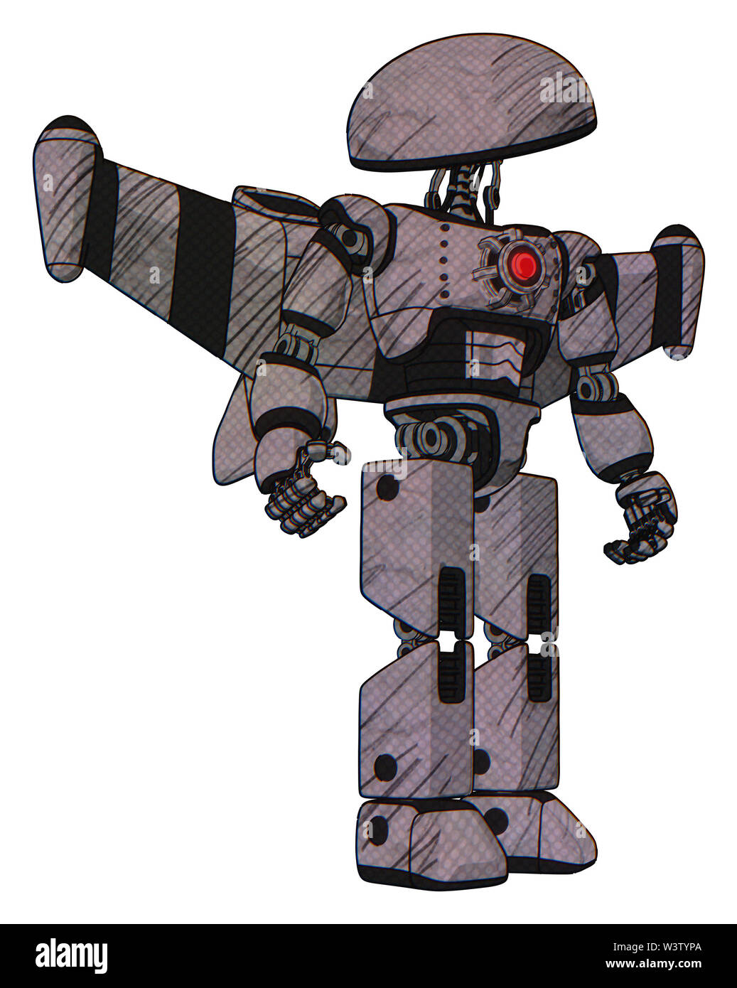 Robot containing elements: dome head, light chest exoshielding, red energy core, stellar jet wing rocket pack, prototype exoplate legs. Material: Dark - Stock Image