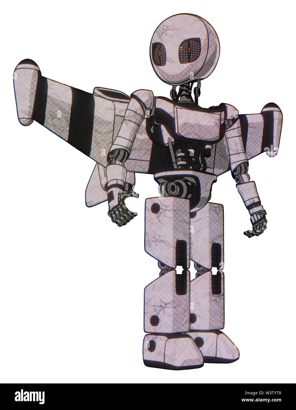 Droid containing elements: grey alien style head, metal grate eyes, light chest exoshielding, ultralight chest exosuit, stellar jet wing rocket pack, - Stock Image