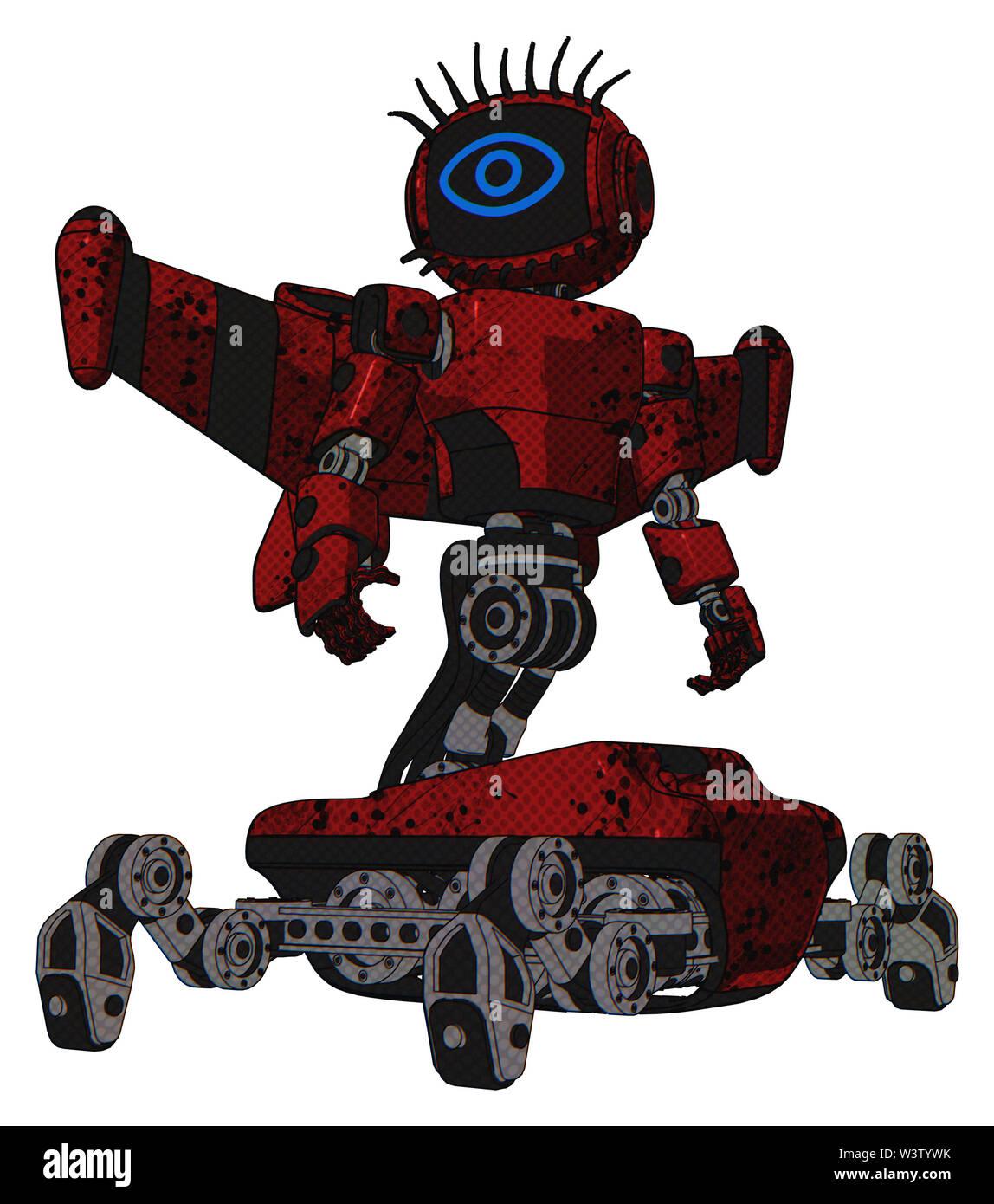 Bot containing elements: digital display head, large eye, eye lashes deco, light chest exoshielding, prototype exoplate chest, stellar jet wing rocket - Stock Image