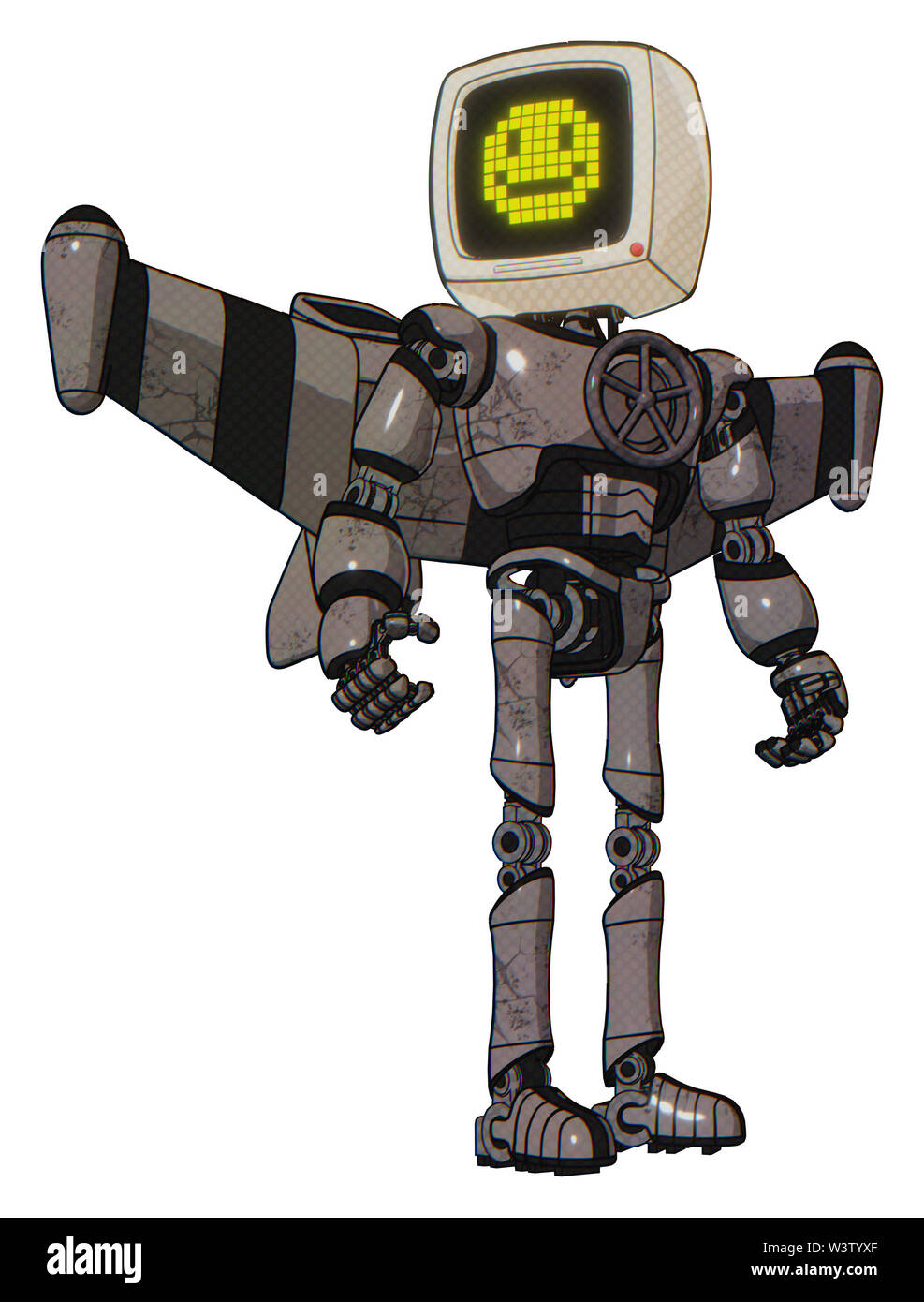 Robot containing elements: old computer monitor, pixel design of yellow happy face, light chest exoshielding, chest valve crank, stellar jet wing rock - Stock Image