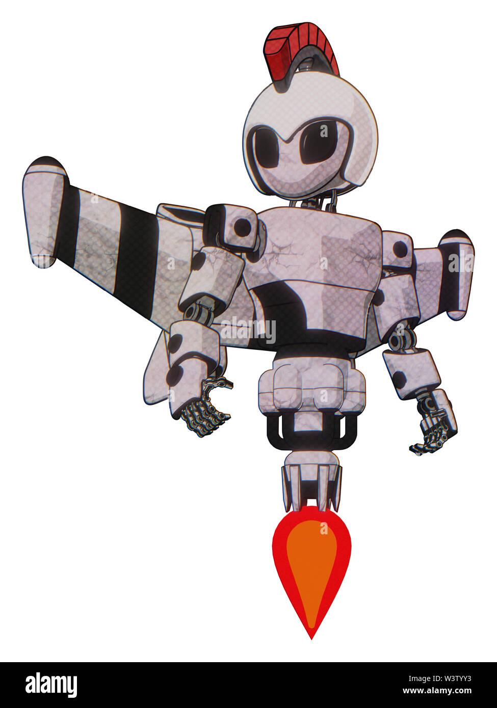 Cyborg containing elements: grey alien style head, black eyes, galea roman soldier ornament, helmet, light chest exoshielding, prototype exoplate ches - Stock Image