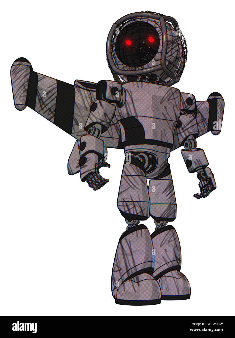 Automaton containing elements: round barbed wire round head, light chest exoshielding, prototype exoplate chest, stellar jet wing rocket pack, light l - Stock Image