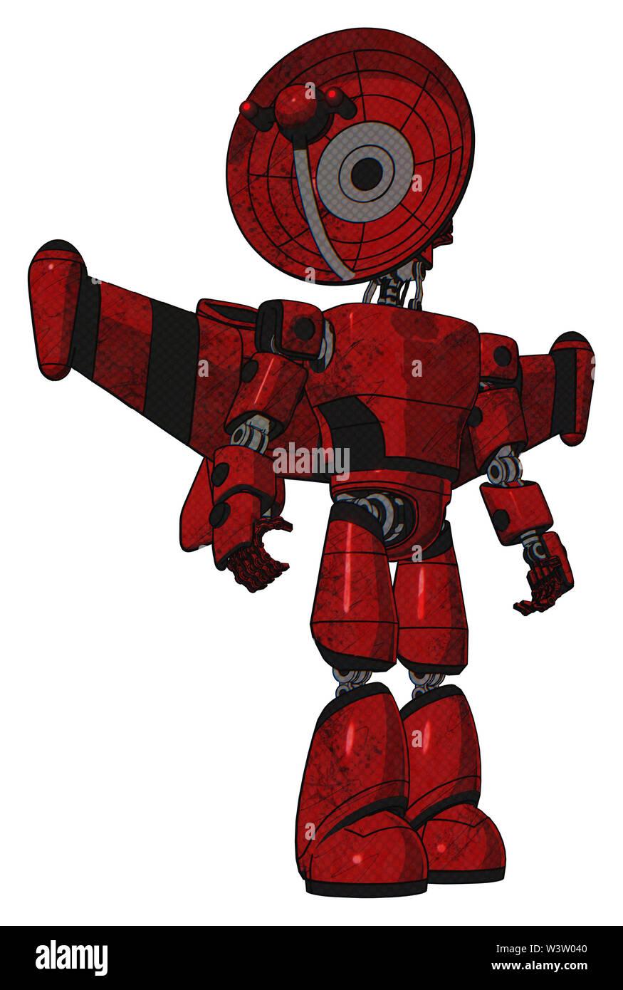 Cyborg containing elements: dual retro camera head, satellite dish head, light chest exoshielding, prototype exoplate chest, stellar jet wing rocket p - Stock Image
