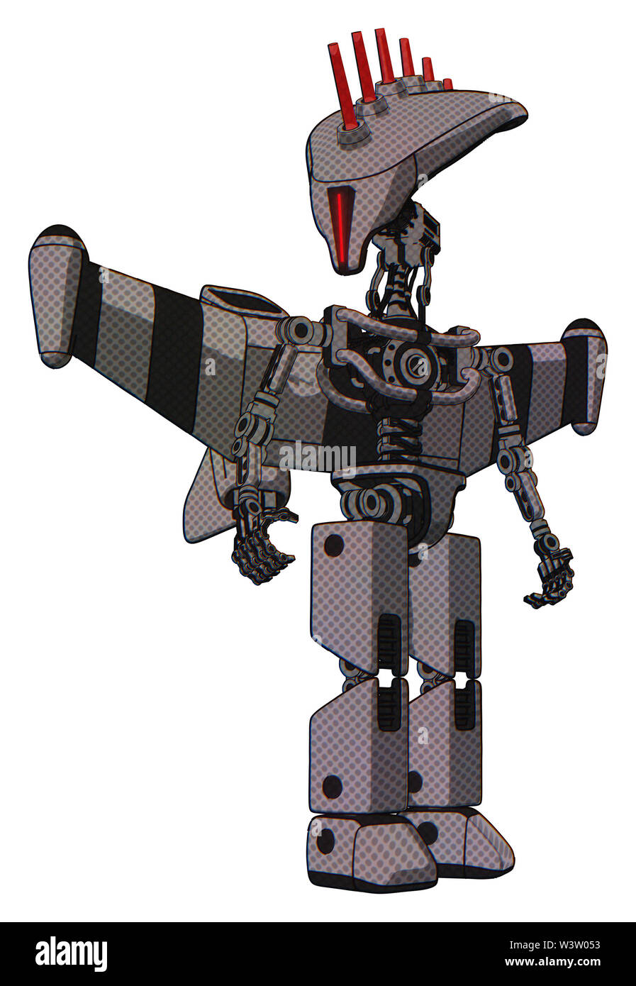 Bot containing elements: flat elongated skull head, light chest exoshielding, stellar jet wing rocket pack, no chest plating, prototype exoplate legs. - Stock Image