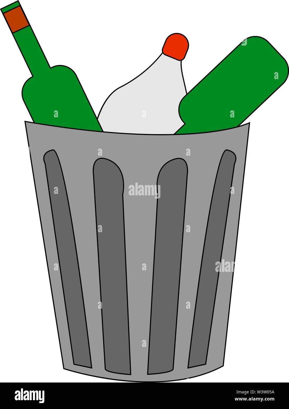 trash can with garbage, illustration, vector on white background. - Stock Image