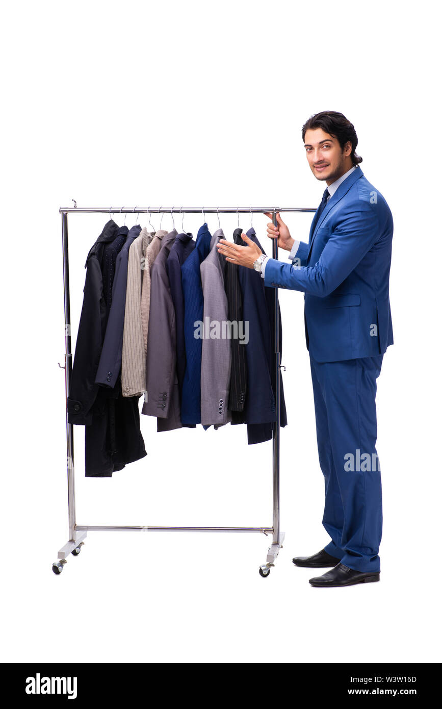 The young handsome businessman in clothing concept - Stock Image