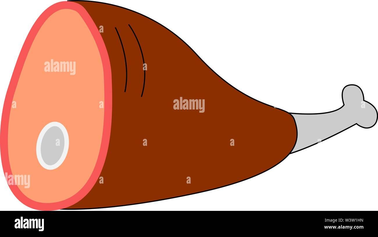 Pork leg, illustration, vector on white background - Stock Image