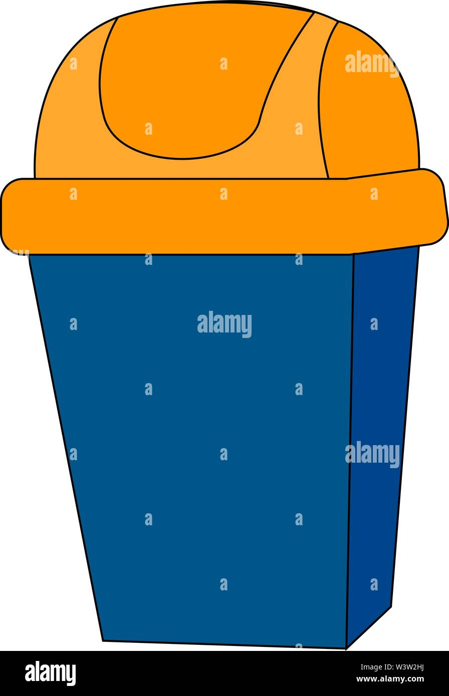 Blue trash can, illustration, vector on white background - Stock Image