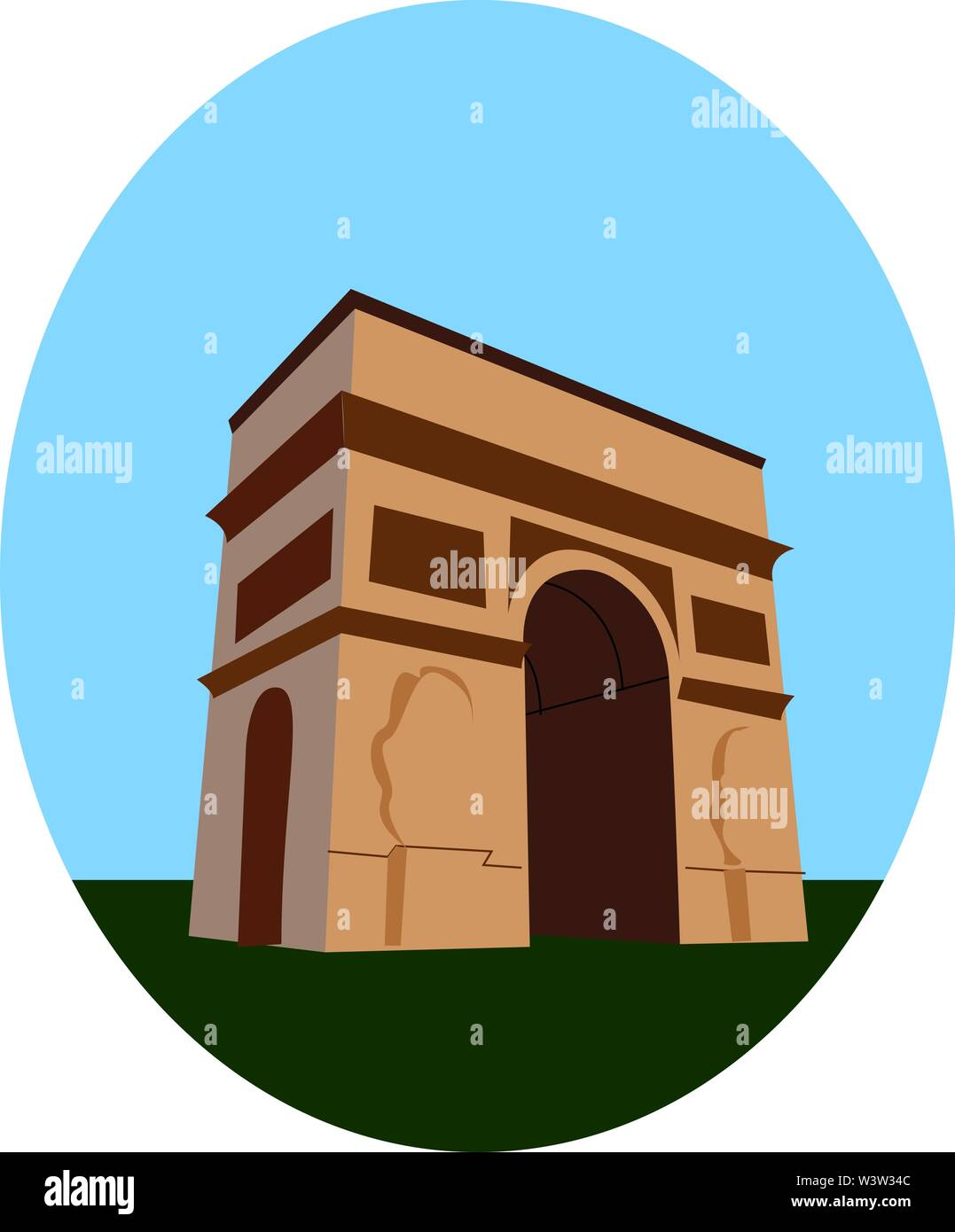 Arc de Triomphe, illustration, vector on white background. - Stock Image