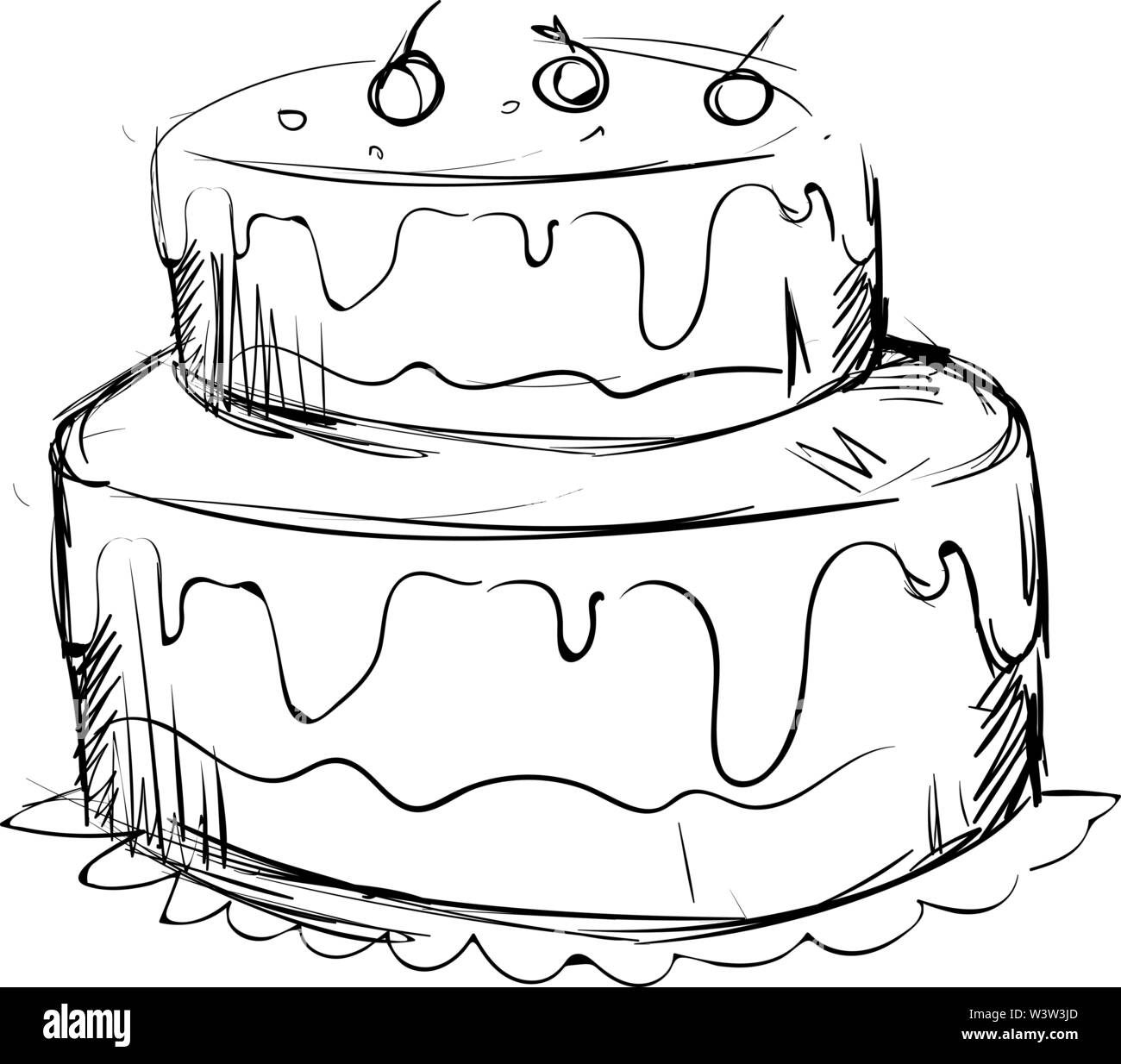 Phenomenal Drawing Of A Birthday Cake Illustration Vector On White Funny Birthday Cards Online Amentibdeldamsfinfo