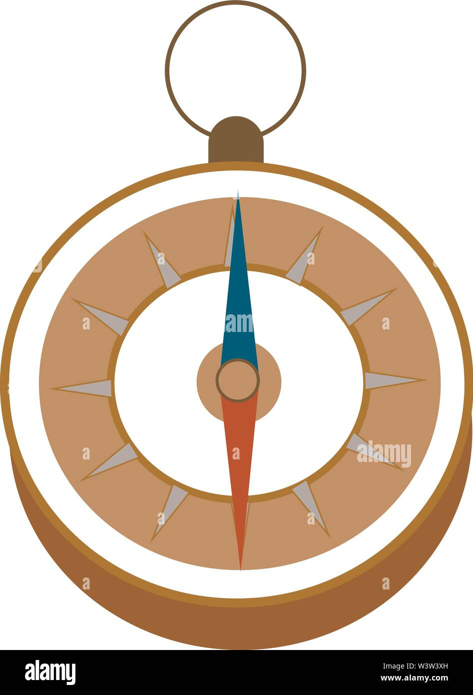 Compass with handle, illustration, vector on white background. - Stock Vector
