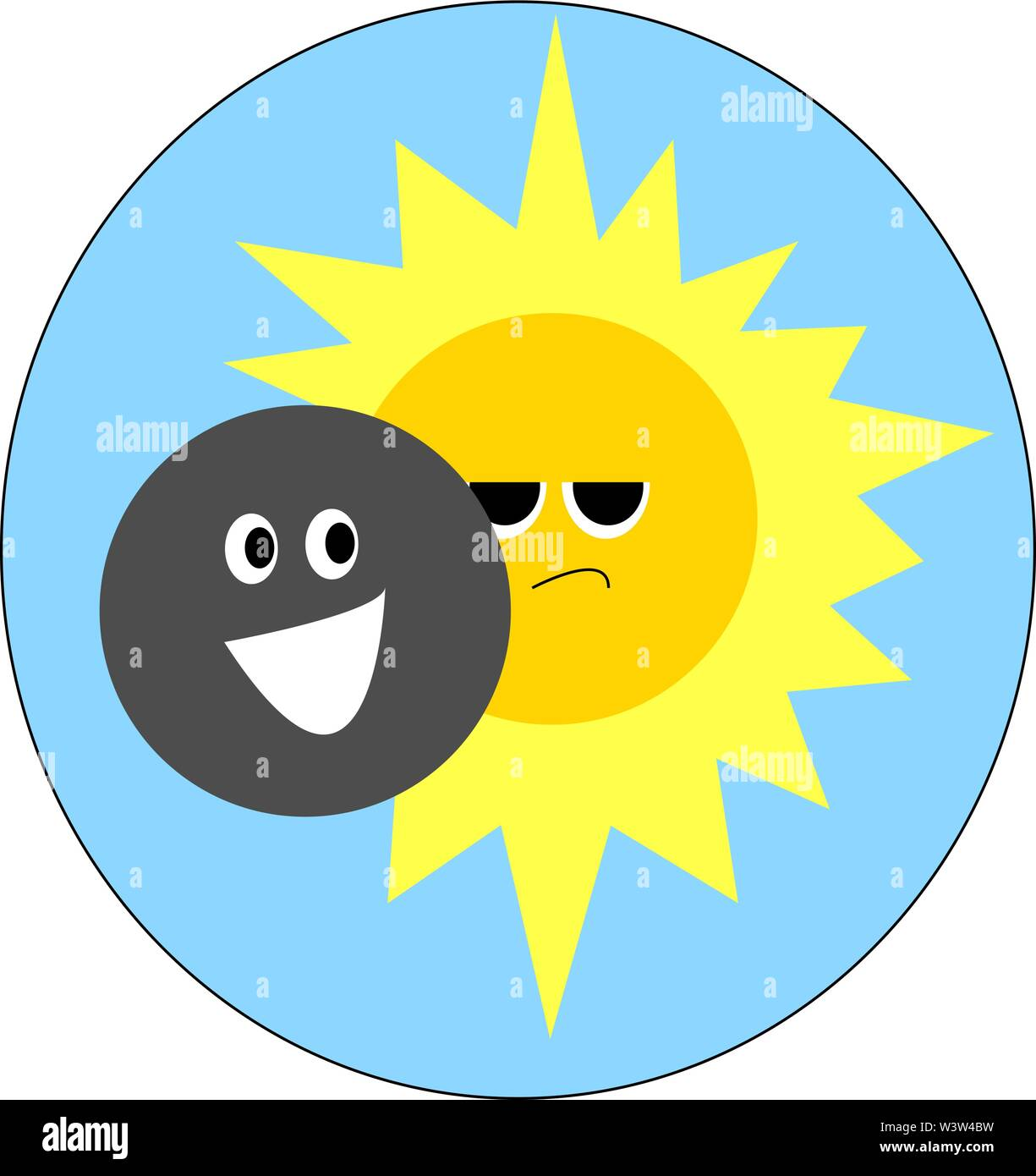 Sun and moon, illustration, vector on white background. - Stock Image