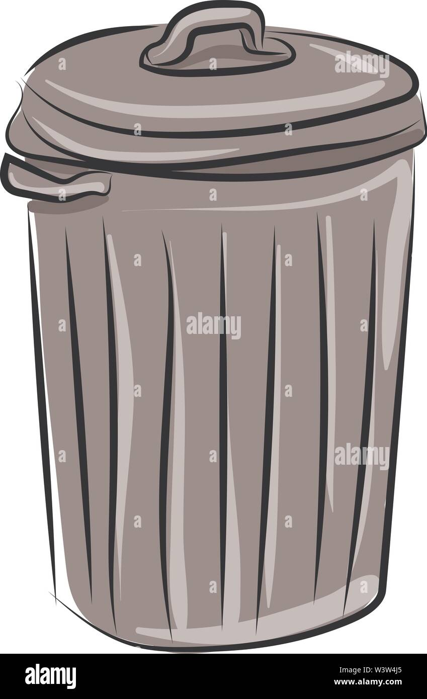 Trash can, illustration, vector on white background. - Stock Image