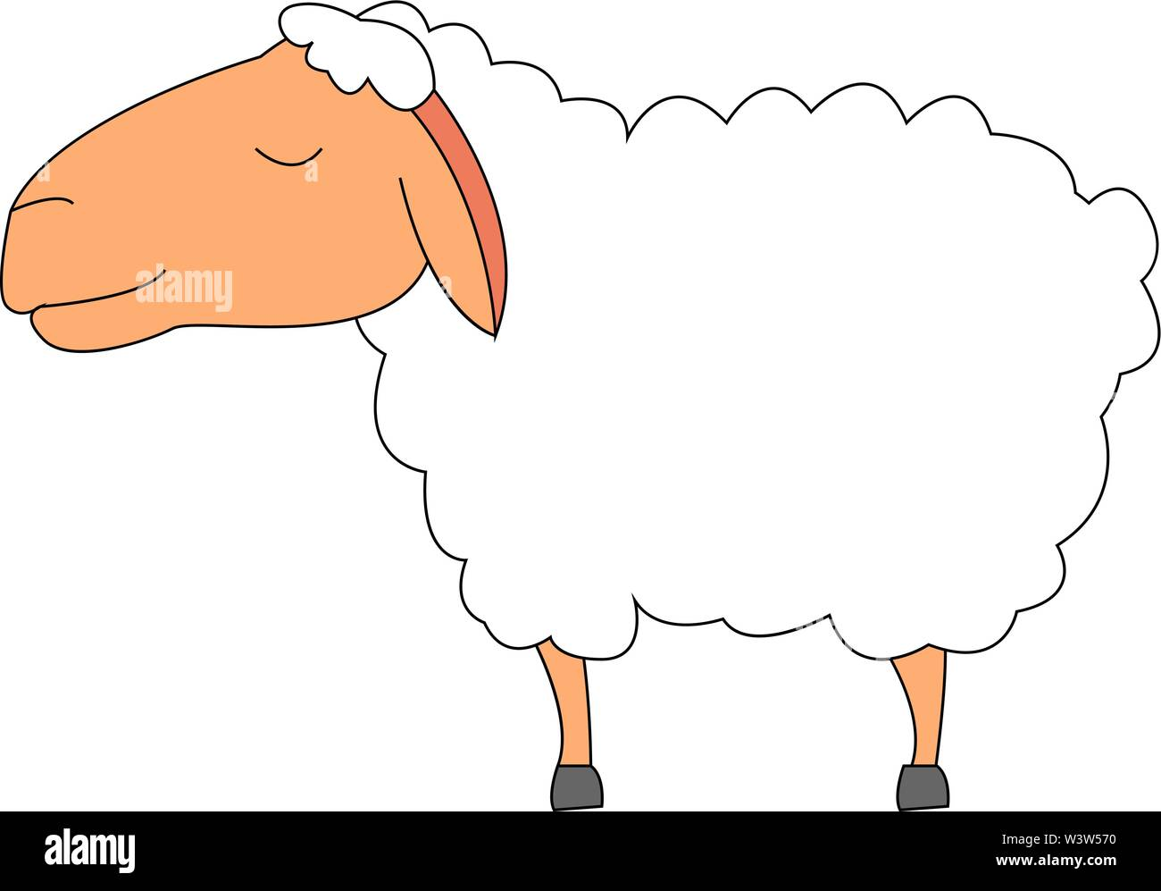 Calm lamb, illustration, vector on white background. - Stock Image
