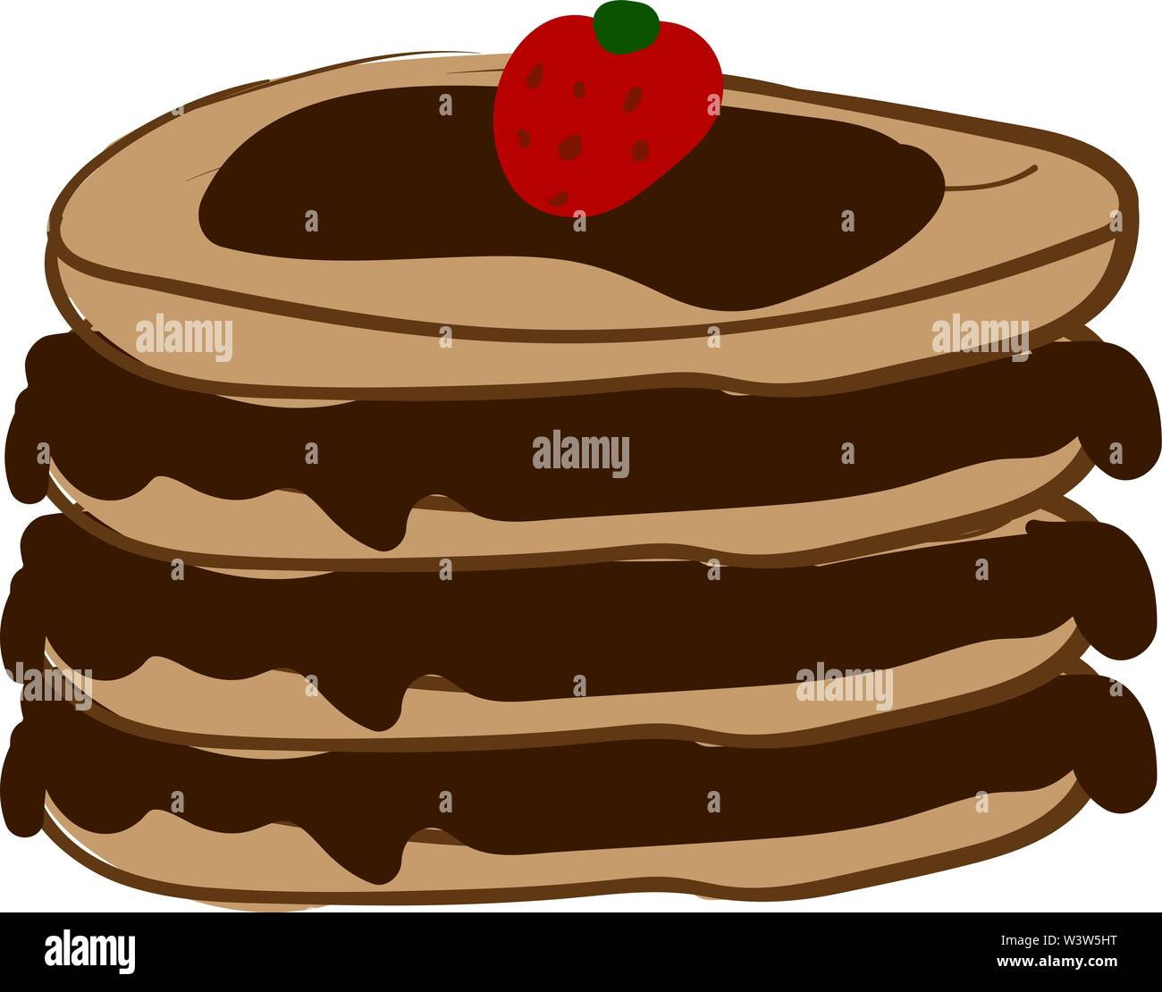 Pancake with strawberry, illustration, vector on white background. - Stock Image
