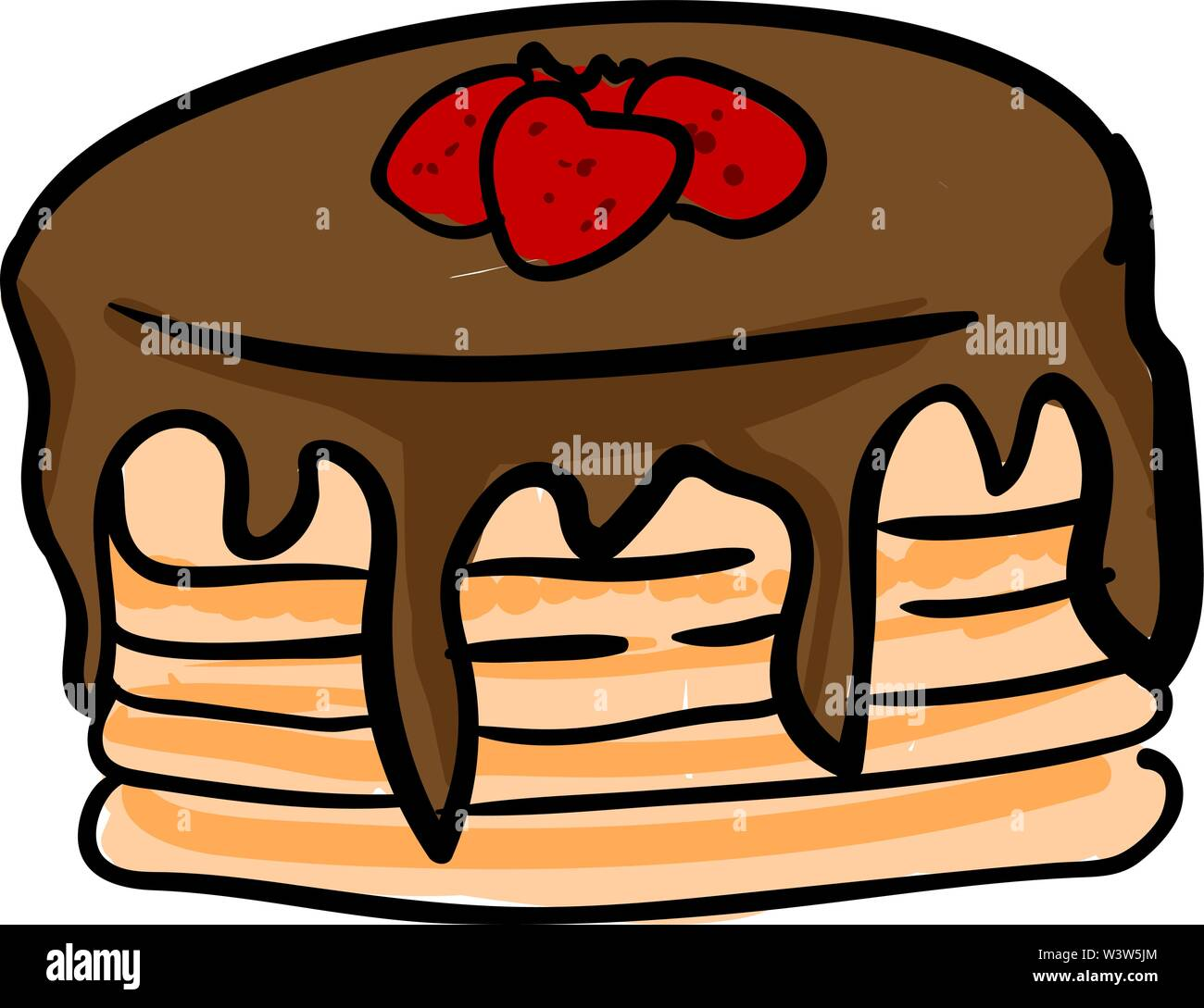 Delicious pancake, illustration, vector on white background. - Stock Image