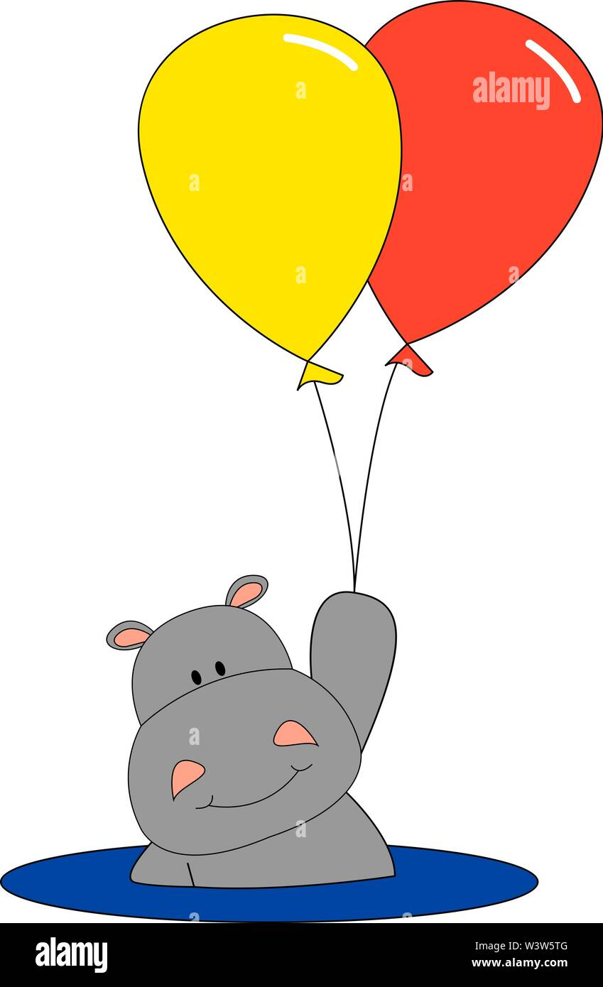 Hippo with balloon, illustration, vector on white background. - Stock Image