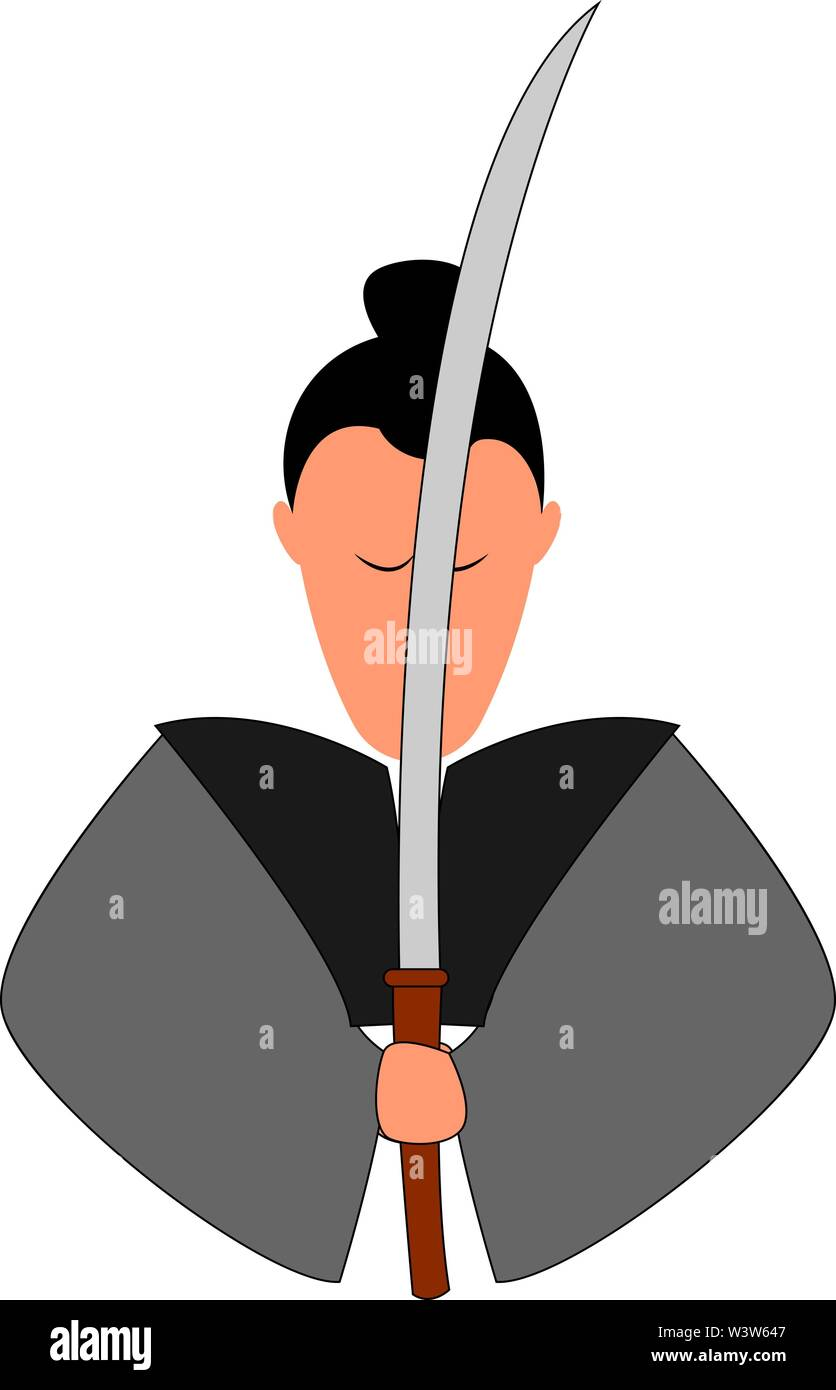 Samurai with katana, illustration, vector on white background. - Stock Image