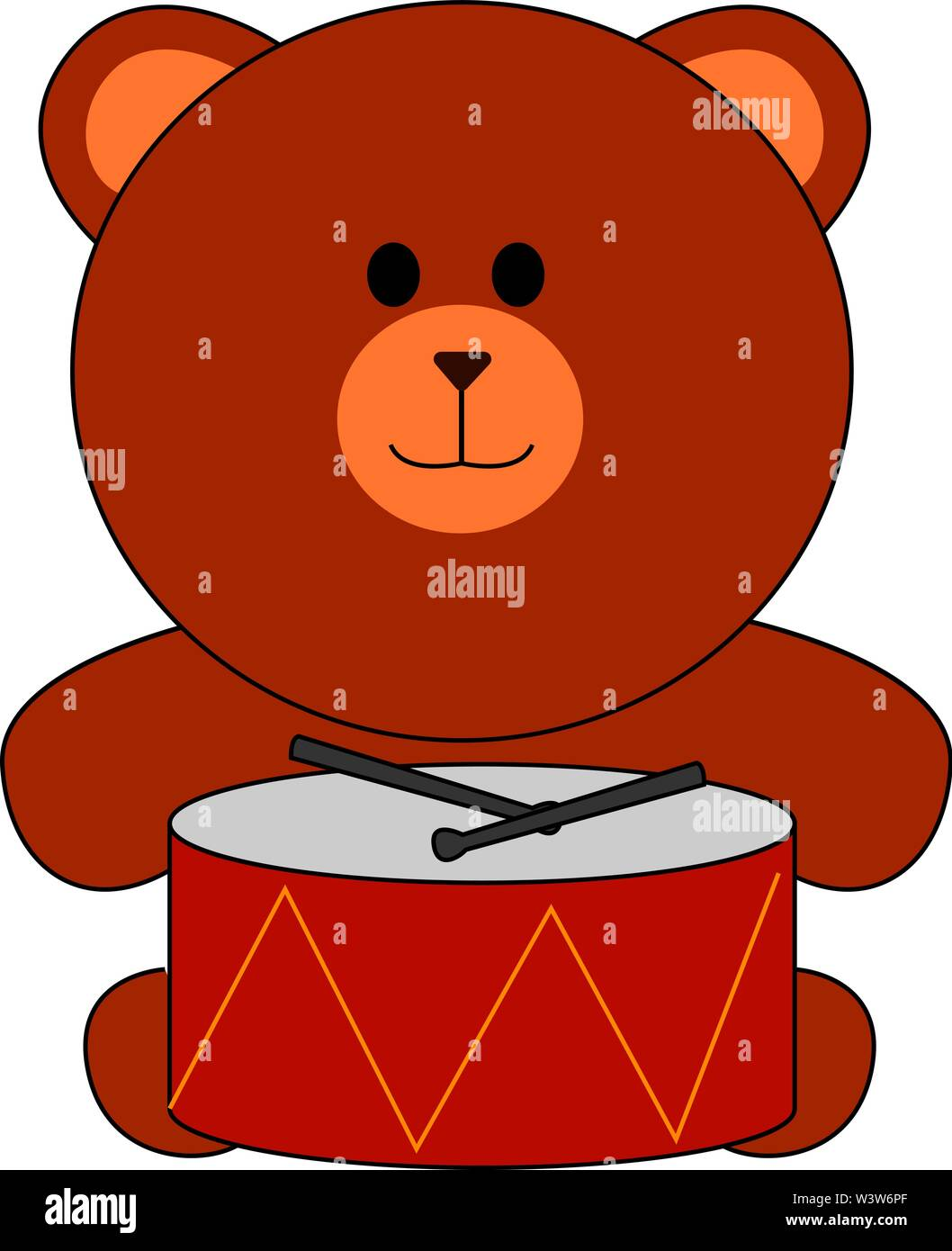 Toy bear and drums, illustration, vector on white background. - Stock Image