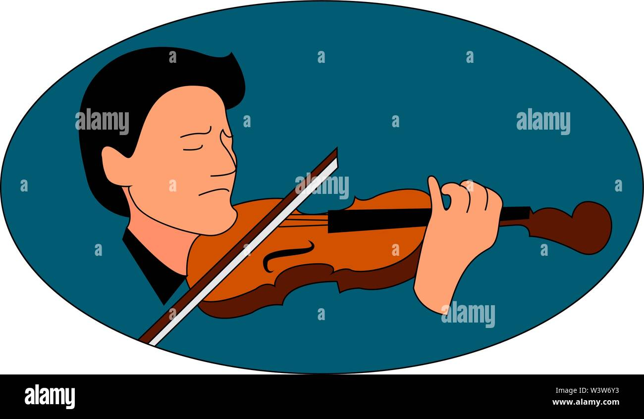 Man playing violin, illustration, vector on white background. - Stock Image